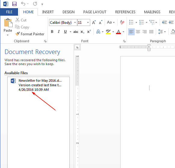 Document Recovery Tab