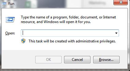 Windows 7 Run Dialog