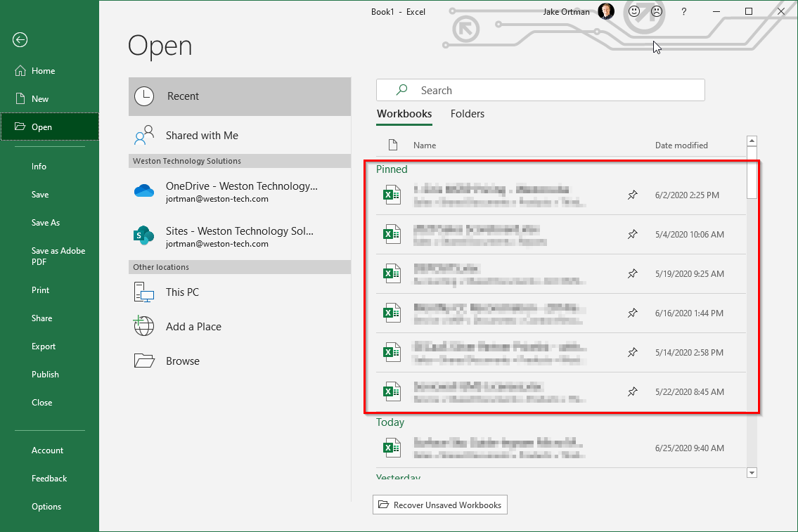Pinned folders in Excel